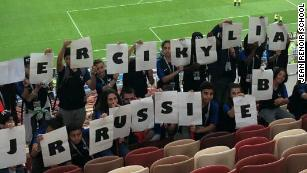 The pupils from school Jean Renoir in Russia. They went to watch France vs. Denmark and Morocco vs. Portugal.
