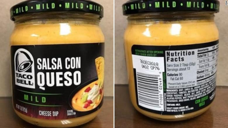 Taco Bell Salsa Con Queso Mild Cheese Dip is being recalled.