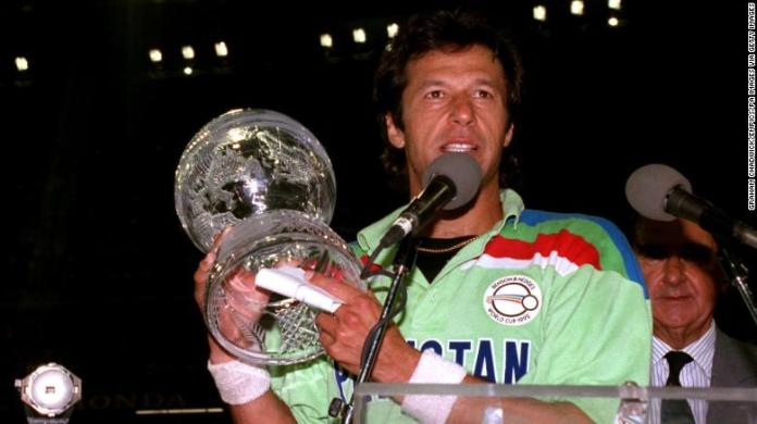 Imran Khan with the cricket World Cup after Pakistan's 1992 win.