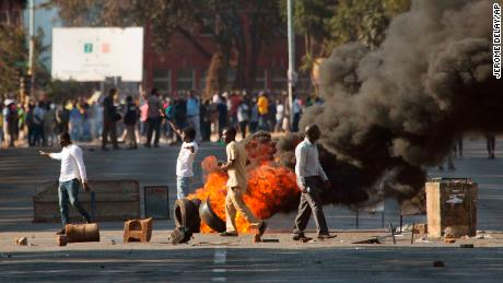 Supporters of the opposition party protest in Harare on Wednesday.