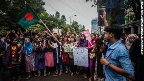 Bangladeshi students march on Sunday.