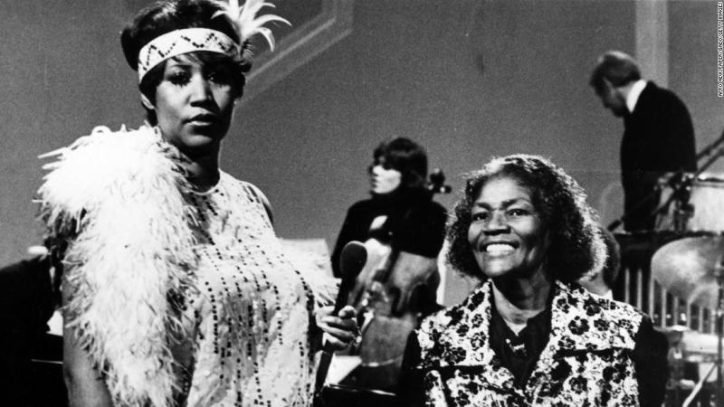 Franklin and Big Mama Thornton perform together onstage on the television series, 'Omnibus,' in 1980.