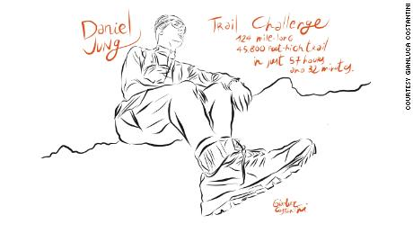 A sketch of Jung, who set a new speed record for the Tyrolean High Altitude Trail.