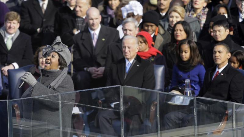 Franklin performs at the inauguration ceremony for President Barack Obama on January 20, 2009.