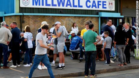 Millwall fans outside The Den before a Championship match.