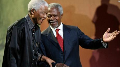 In this 2007 file photo, Nelson Mandela and Kofi Annan arrive together at the 5th Nelson Mandela Annual Lecture in South Africa.