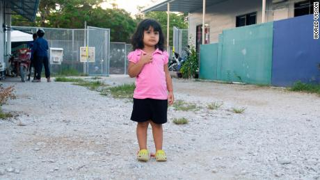 Two-year-old refugee Roze has spent her entire life on the island.