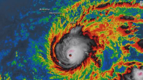 Hurricane Lane is shown in a satellite image from Wednesday morning.