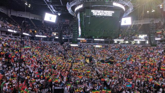 The crowd at the Minnesota rally held by Ethiopian Prime Minister Abiy Ahmed.