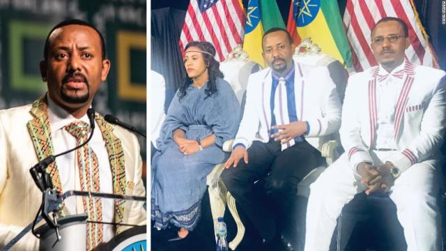 Left, Abiy Ahmed in Washington and, right, with his family in Minnesota on his US tour in July 2018.
