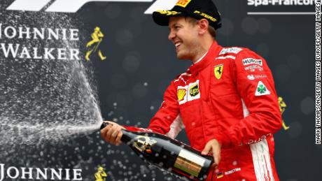 Sebastian Vettel celebrates his 52nd Grand Prix victory.