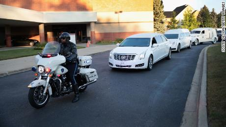 The remains of Aretha Franklin arrive for her funeral service Friday at Detroit's Greater Grace Temple.
