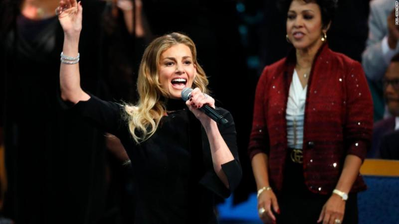 "Faith Hill was the first celebrity performer to sing during Franklin's funeral on Friday. Hill performed ""What a Friend We Have in Jesus."""