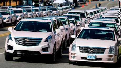 Pink Cadillacs line up outside Greater Grace Temple, the site of Franklin's funeral Friday.