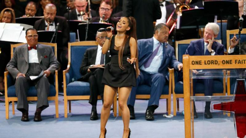 "Ariana Grande performs Franklin's hit ""Natural Woman"" during Franklin's funeral service on Friday."