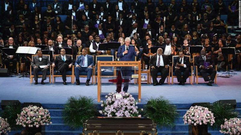 """Former US President Bill Clinton praised the values and virtues Franklin lived by and said, """"She cared about broken people."""" <a href=""""https://www.cnn.com/entertainment/live-news/aretha-franklin-funeral/h_e734a88d32c80b47283eeb361009420f"""" target=""""_blank"""">He then put his phone to the microphone and played Franklin's 1968 hit """"Think,""""</a> which features Franklin singing about freedom."""