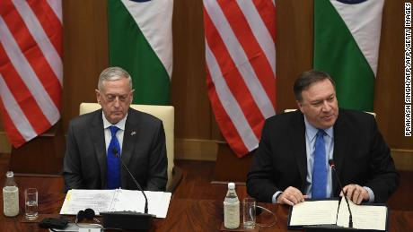 US Secretary of Defense Jim Mattis (L) sits next to US Secretary of State Mike Pompeo (R) during a trip to Delhi.