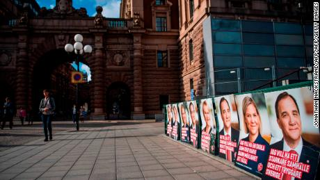 Posters of the Social Democrat candidates and Swedish Prime Minister Stefan Loefven in Stockholm.