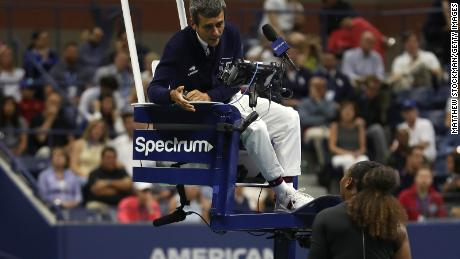 Williams argues with umpire Carlos Ramos during the US Open women's final