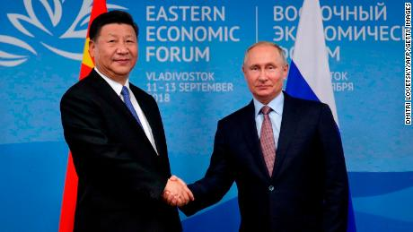 Russian President Vladimir Putin (R) meets Chinese counterpart Xi Jinping on the sidelines of the Eastern Economic Forum in Vladivostok on September 11, 2018.