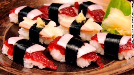 Whale sushi made from sliced minke meats, blubber and rice balls at a sushi shop in Japanese whaling town Ayukawahama, Miyagi prefecture.