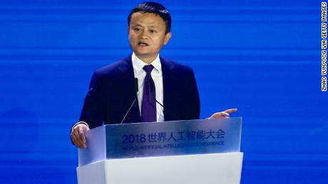 SHANGHAI, CHINA - SEPTEMBER 17: Alibaba Chairman Jack Ma speaks during the opening ceremony of the 2018 World Artificial Intelligence Conference at West Bund on September 17, 2018 in Shanghai, China. The 2018 World Artificial Intelligence Conference is held on September 17-19 in Shanghai. (Photo by Zhao Yun/VCG via Getty Images)