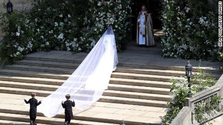 Meghan arrives for her wedding to Prince Harry at St. George's Chapel, Windsor Castle on May 19.
