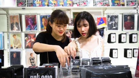A shop selling K-pop merchandise in SM Town, in Seoul.