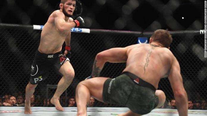 Nurmagomedov chases down McGregor during their UFC lightweight championship bout.