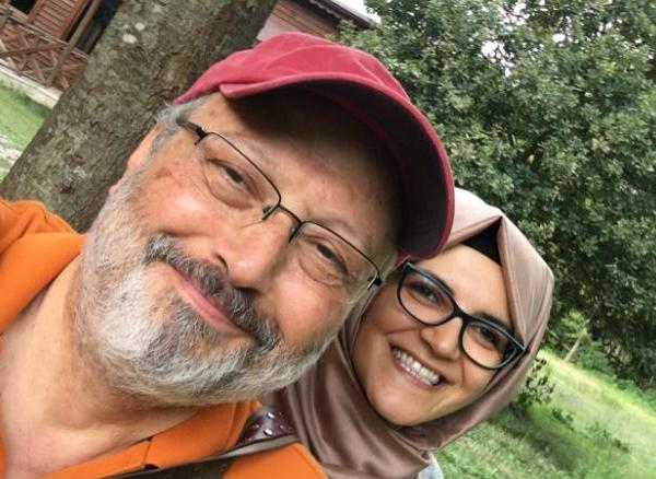 Missing Saudi journalist Jamal Khashoggi with Hatice Cengiz.