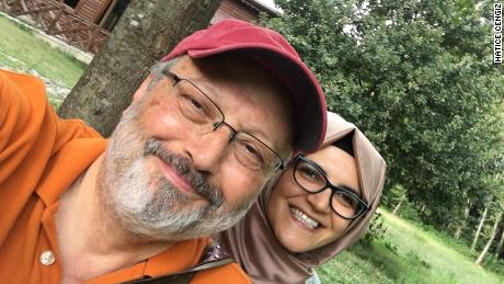 Saudi journalist Jamal Khashoggi is pictured with his Turkish fiance, Hatice Cengiz.