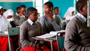 Students attend class at Arusha Secondary School.