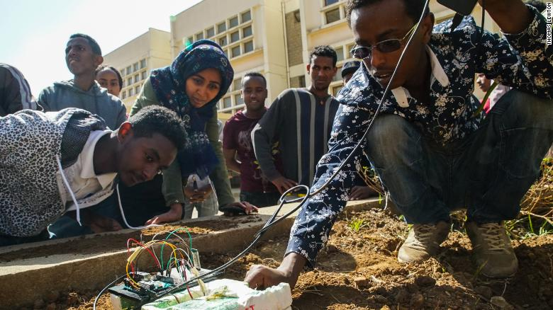 """Solve IT"" students test their AI tractor at Mekele University in Ethiopia's far north. Image: Thomas Lewton."