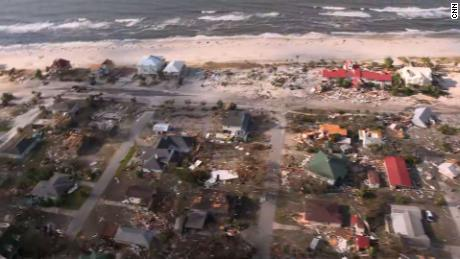 An aerial view shows the devastation in Mexico Beach after Michael roared ashore.