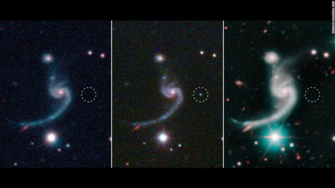 These three panels reveal a supernova before, during and after it happened 920 million light-years from Earth(from left to right). The supernova, dubbed iPTF14gqr, is unusual because although the star was massive, its explosion was quick and faint. Researchers believe this is due to a companion star that siphoned away its mass.