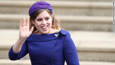 Princess Beatrice arrives for the wedding of Princess Eugenie on October 12, 2018. (Steve Parsons/Pool via Reuters)