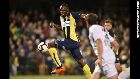 Olympic sprinter Usain Bolt is seen playing for A-League football club Central Coast Mariners in his first competitive start for the club in Sydney on October 12, 2018.