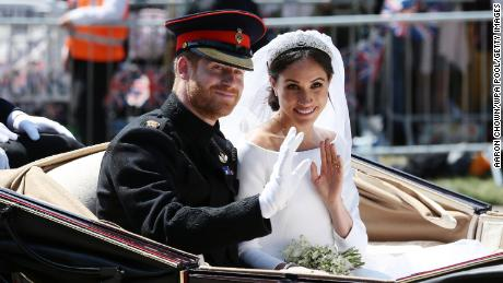 The newlyweds during their post-wedding carriage procession in Windsor, England in May 2018.