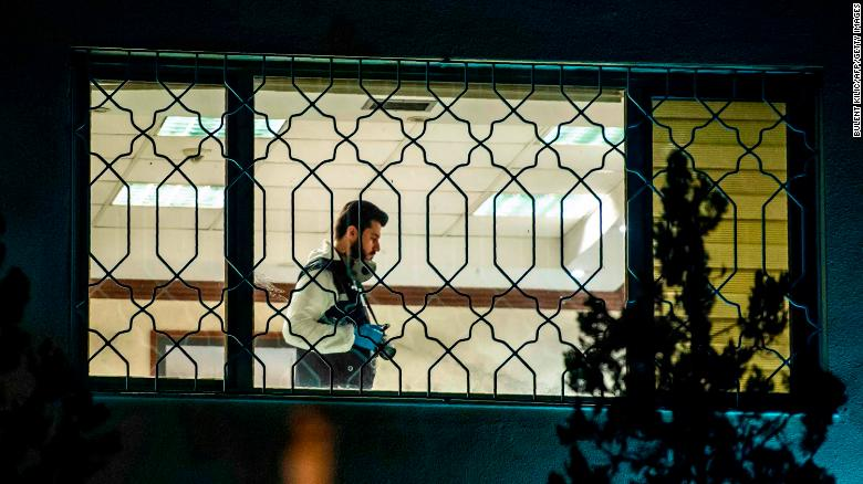 A Turkish forensic police officer works in Saudi Arabia's consulate in Istanbul on October 15.
