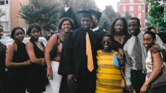 Chinedu Okobi pictured with his family after his 2003 graduation.