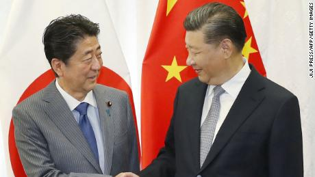 A much warmer handshake between Abe and Xi prior to their bilateral meeting in Vladivostok on September 12.