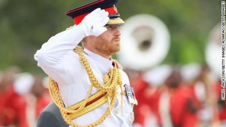 Prince Harry attends a war memorial wreath laying in Suva, Fiji.