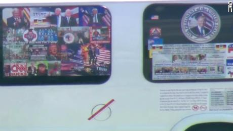 Video from CNN affiliate WPLG shows the exterior of the van that authorities confiscated after Sayoc's arrest Friday.