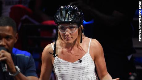 Shiffrin takes part in a challenge during the Nickelodeon Kids' Choice Sports 2018 in California in July.