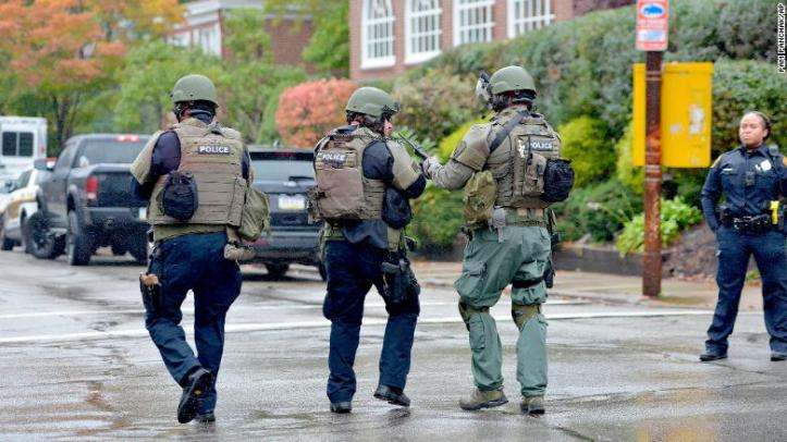 Police respond to the shooting Saturday at the Tree of Life synagogue in Pittsburgh.