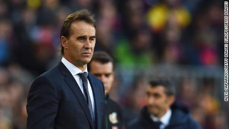 A disconsolate Julen Lopetegui looks on as his Real Madrid side slips to defeat at the Nou Camp.
