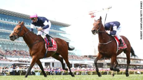Corey Brown rode Rekindling to victory in the Melbourne Cup at Flemington in 2017.