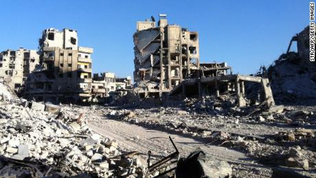 Destroyed buldings are seen in the Khaldiyeh district of Syria's central city of Homs on July 28, 2013.