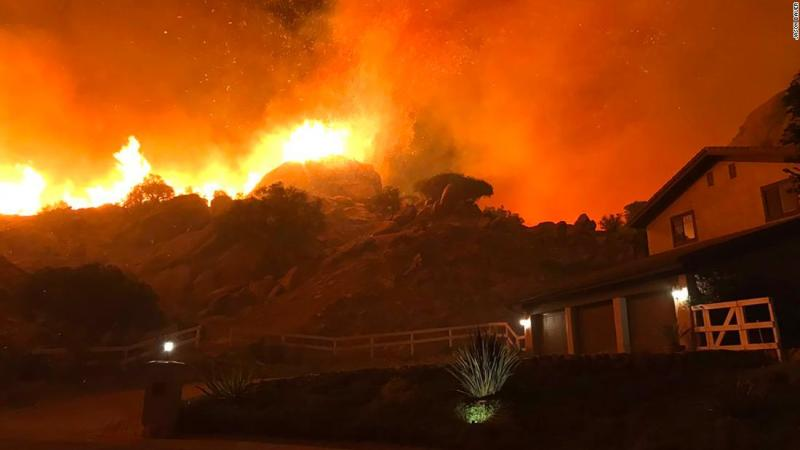The Woolsey Fire burns in Ventura County, where Jason Bauer told CNN his parents had just been evacuated from their home.
