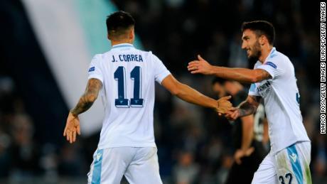 Lazio's Joaquin Correa celebrates scoring his team's second -- and decisive -- goal.
